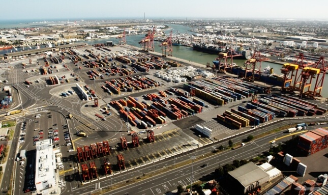 aerial view of commercial berths waterfront at the port of melbourne