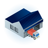 warehouse depot with truck clip art icon